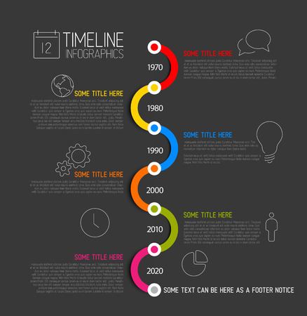 Dark Infographic timeline report template with icons Vector