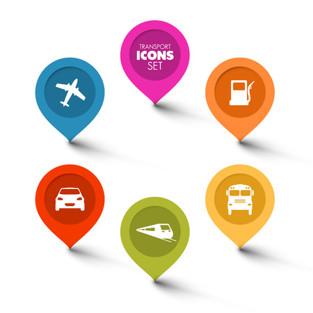 bus station: Set of round flat transport pointers - car, bus, train, plane, gas station