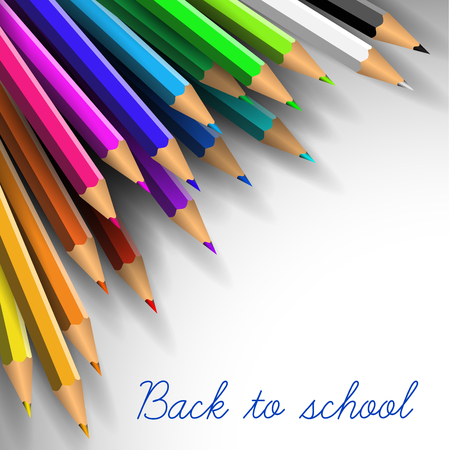 back pocket: Back to school poster - colorful pencils on white paper