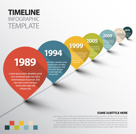 レトロなポインターを持つインフォ グラフィック タイムライン テンプレート