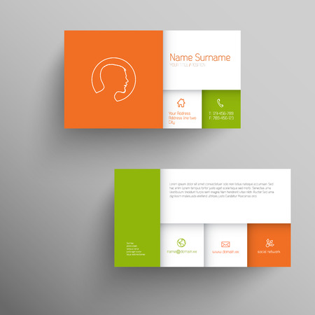 square image: Modern simple business card template with flat mobile user interface