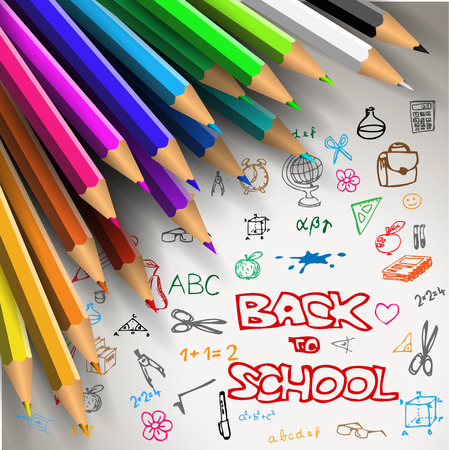 back to work: Back to school poster - colorful crayons on white paper with doodles