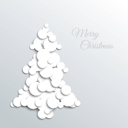 ecard: absract christmas tree card made from white circles
