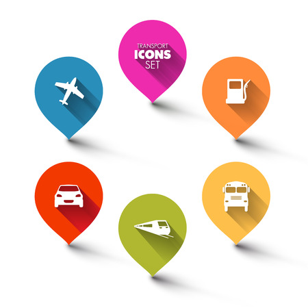 Set of round flat transport pointers - car, bus, train, plane, gas station with a long shadow effect Vector