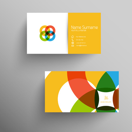 business card layout: Modern simple light business card template with flat user interface