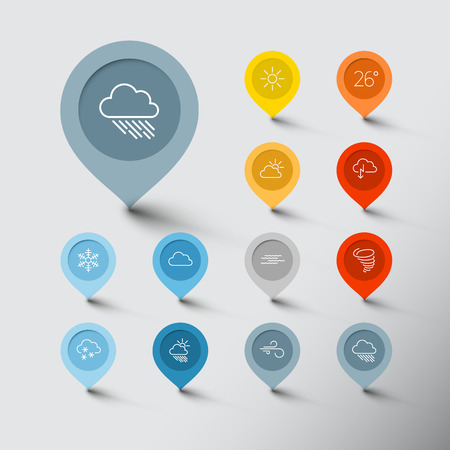 Minimalistic weather thin line flat pointer icon set Vector