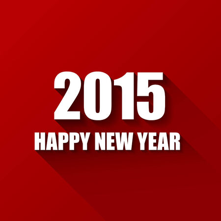 Vector Modern red  simple Happy new year card (2015) with a long shadow effect Vector