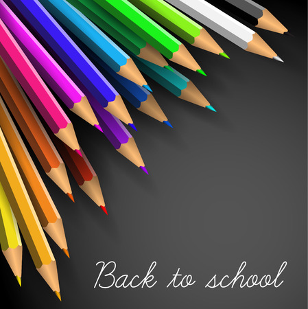 coloured background: Vector Back to school poster - colorful crayons on white paper