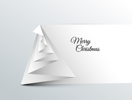 minimalist: Simple vector christmas tree made from paper - original new year card Illustration