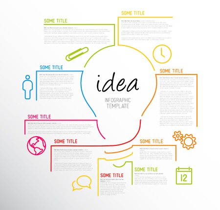 Vector idea Infographic template made from lines and icons