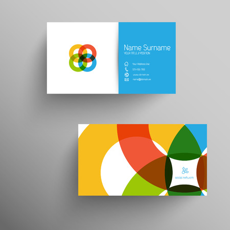 calling: Modern blue simple light business card template with flat user interface