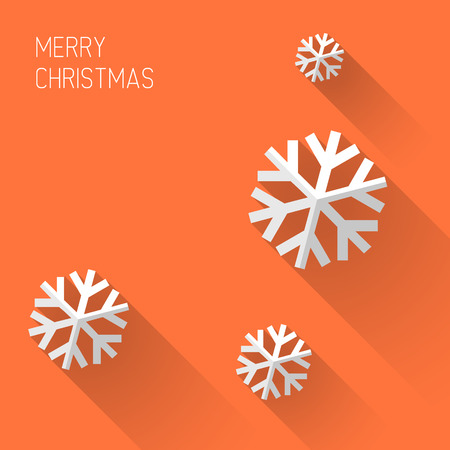 Modern simple minimalistic christmas card with flat design Çizim