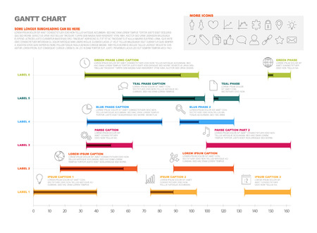 Vector project timeline graph - gantt progress chart of project Vectores
