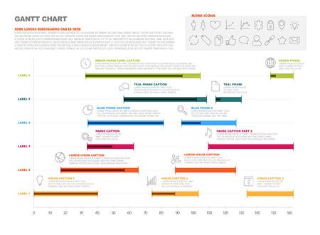 zeitplan: Vector Projekt-Timeline Grafik - Gantt-Diagramm der Projektfortschritts