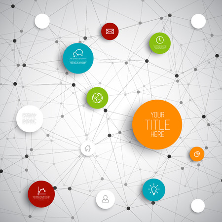 networks: Vector abstract circles illustration  infographic network template with place for your content