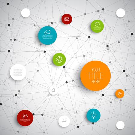 mente: Vector círculos abstractos ilustración  plantilla de red infografía con lugar para el contenido
