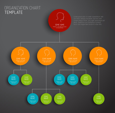 Vector modern and simple dark organization chart template with profiles