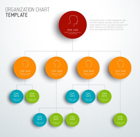 corporate social: Vector moderno e semplice organigramma modello con profili