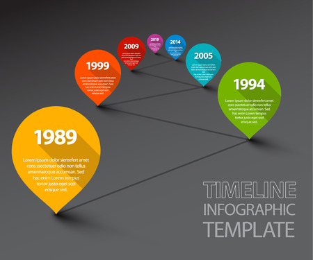 history month: Fresh Vector Infographic Timeline Template with retro pointers - dark version