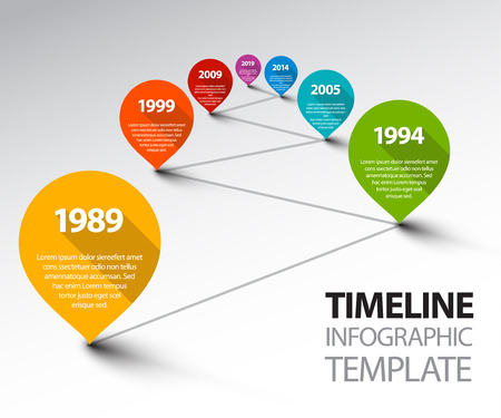 Fresh Vector Infographic Timeline Template with retro pointers