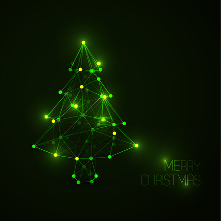 Vector card with abstract christmas tree made from light lines and dots (low poly art) Vector