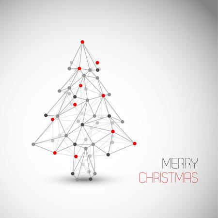 行とドット (低ポリ アート) から作られた抽象的なクリスマス ツリーとベクトル カード