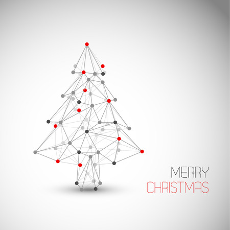 Vector card with abstract christmas tree made from lines and dots (low poly art) Illustration