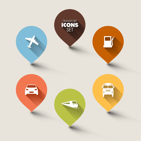 text marker: Set of round retro flat transport pointers - car, bus, train, plane, gas station with a long shadow effect Illustration