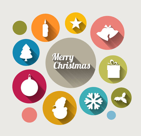 Vector retro christmas card with various seasonal shapes and elements Vector