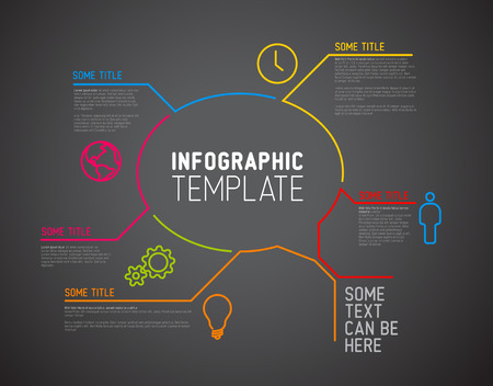 bubble speach: Vector Infographic report template made from lines and icons (big speach bubble) - dark version Illustration