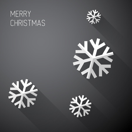Modern simple minimalistic christmas card with long shadows - black and white Vector