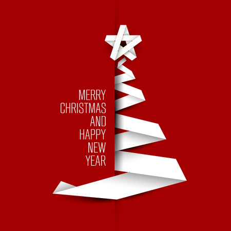 Simple christmas tree made from paper stripe - original new year card Vettoriali