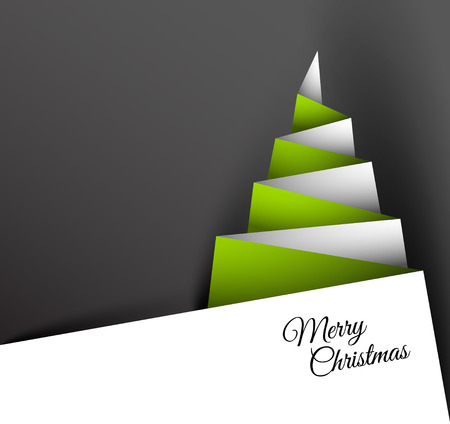 Simple christmas tree made from paper - original new year card Vector