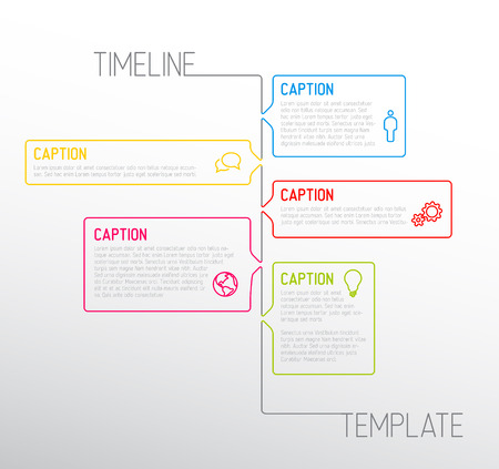 Infographic timeline report template with icons made from thin line Vector