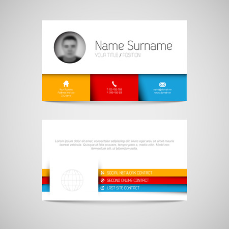 phone box: Modern simple light business card template with flat user interface