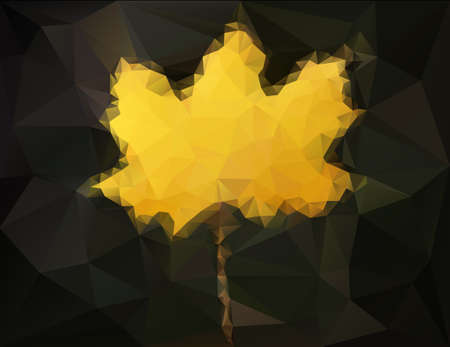 Autumn maple leaf - abstract low poly art on dark background Vector