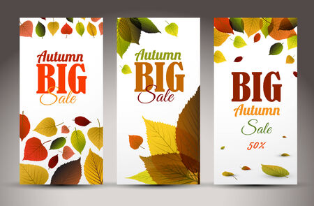 saturate: Set of fresh natural fall vertical banners with leafs and sample text