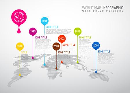 전세계에: 포인터 자국 등 세계지도 - 통신 개념 일러스트