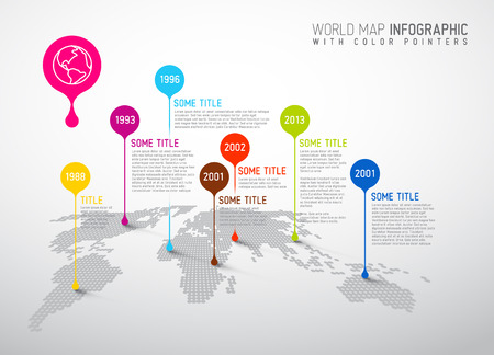 Light World map with pointer marks -  communication concept Çizim