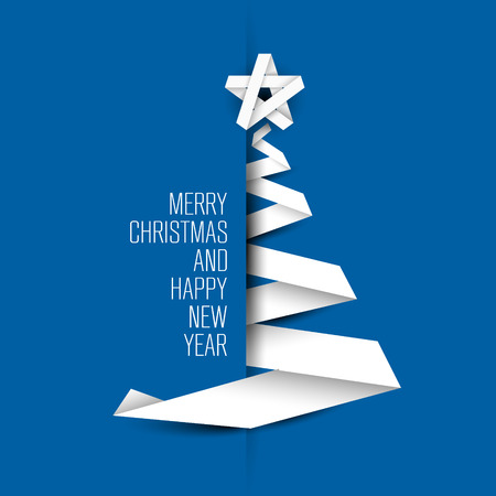 Simple blue vector christmas tree made from paper stripe - original new year card