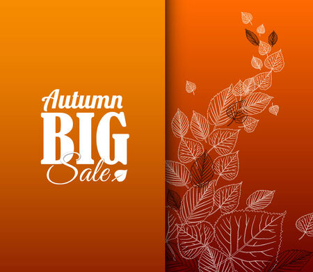 Autumn sale vector retro poster with white leafs silhouettes Vector