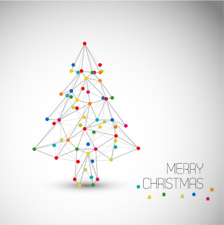 Vector card with abstract christmas tree made from lines and colorful dots (low poly art) Vector