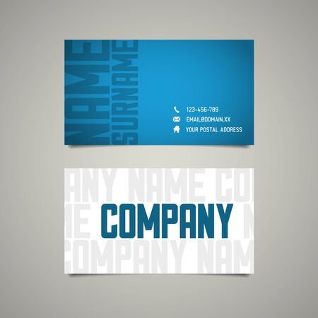 user name: Modern simple business card template with big letterings