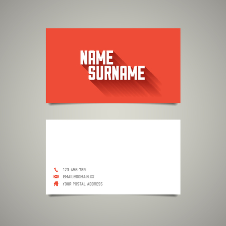 user name: Modern simple business card template with big name surname and long shadow effect