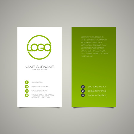 user name: Modern simple vertical business card template with place for your company name