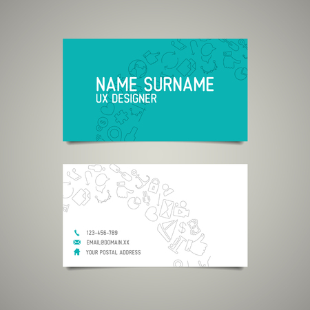 teal background: Modern simple business card template for ux designer or webdesigner