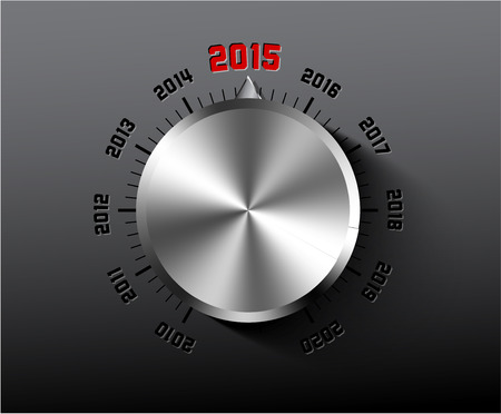 Vector 2015 New Year card with chrome knob on dark background Vector