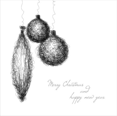 simple background: christmas decoration - simple continuous line drawing