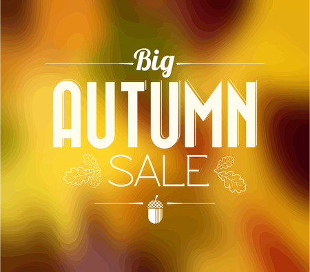 Autumn sale retro poster with abstract blurred fall background photo