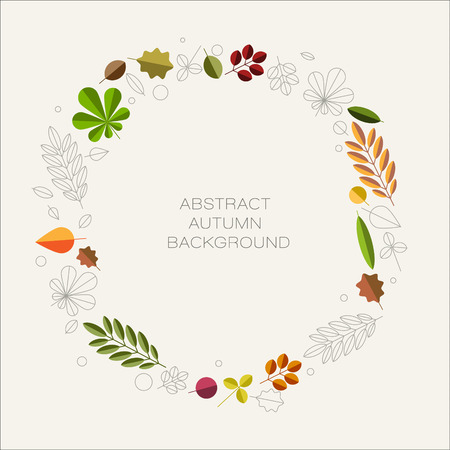 oval frame: Autumn abstract floral background circle made from minimalist leafs with place for your text